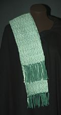 Women's Scarf. Handwoven Green & Off White.